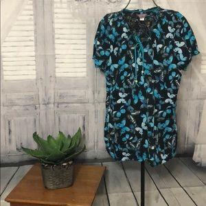 Koi Brand Turquoise/Black Butterfly Scrub Top-SzXL